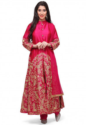 Embroidered Satin Pakistani Suit in Fuchsia