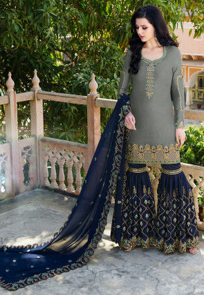 Embroidered Satin Pakistani Suit in Grey
