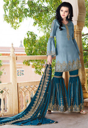 Embroidered Satin Pakistani Suit in Light Blue