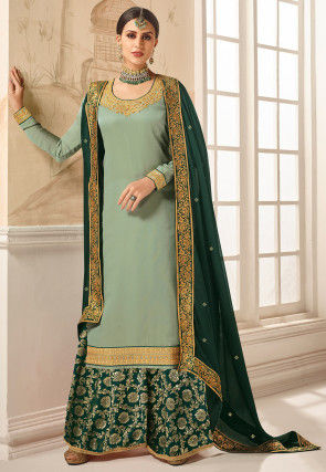Embroidered Satin Pakistani Suit in Light Green