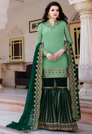 Embroidered Satin Pakistani Suit in Light Teal Green