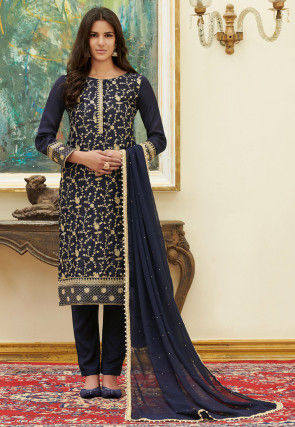 Embroidered Satin Pakistani Suit in Navy Blue