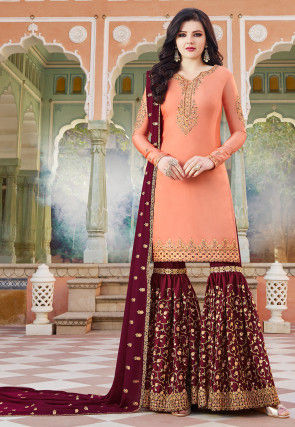 Embroidered Satin Pakistani Suit in Peach