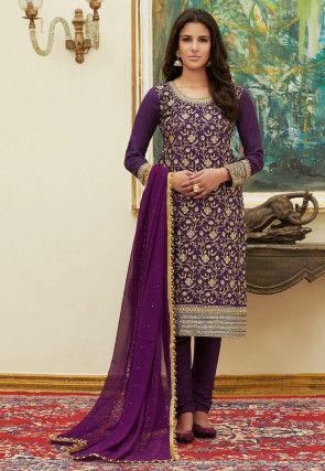 Embroidered Satin Pakistani Suit in Purple