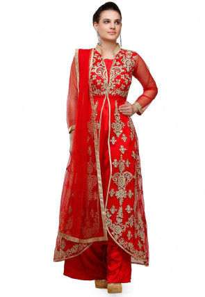 Embroidered Satin Pakistani Suit in Red