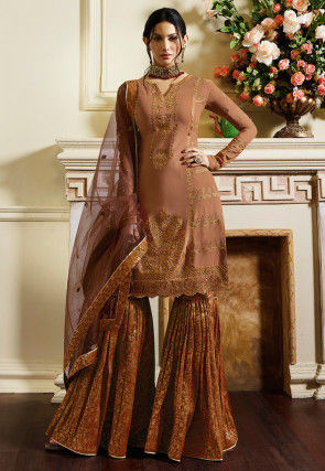 Embroidered Satin Pakistani Suit in Rose Gold