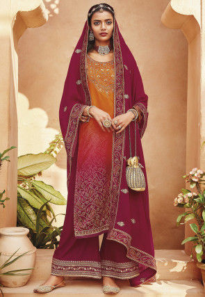 Embroidered Satin Pakistani Suit in Shaded Magenta and Orange