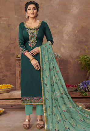 Embroidered Satin Pakistani Suit in Teal Blue