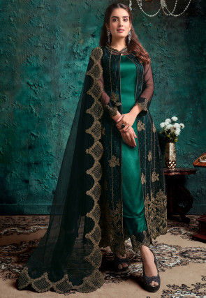 Embroidered Satin Pakistani Suit in Teal Green