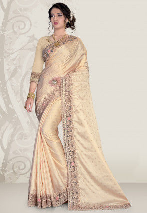 Embroidered Satin Saree in Beige