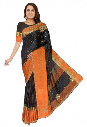 Embroidered Satin Saree in Black