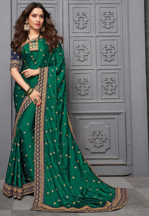 Embroidered Satin Saree in Green