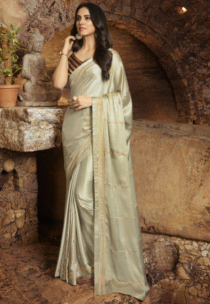Embroidered Satin Saree in Light Beige