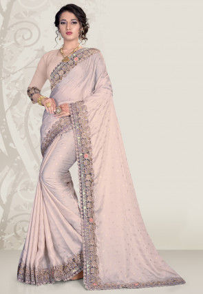 Embroidered Satin Saree in Light Grey