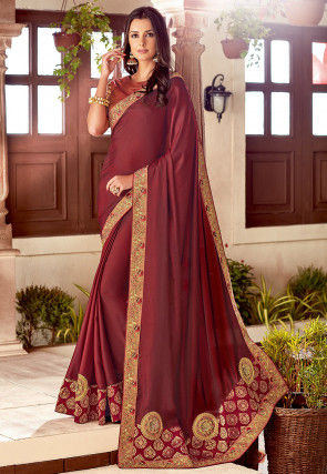 Embroidered Satin Saree in Maroon