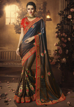 Embroidered Satin Saree in Navy Blue and Brown Dual Tone