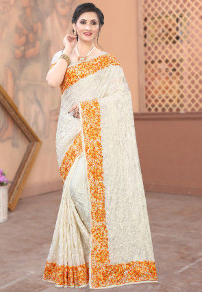 Embroidered Satin Saree in Off White and Mustard