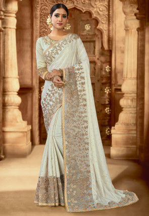 Embroidered Satin Saree in Off White