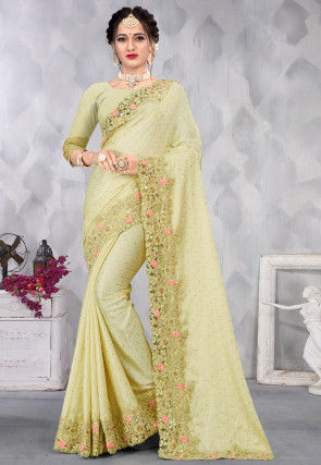 Embroidered Satin Saree in Pastel Green