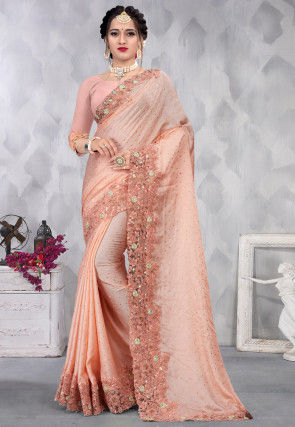 Embroidered Satin Saree in Peach