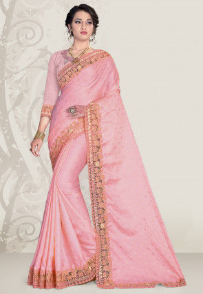 Embroidered Satin Saree in Pink
