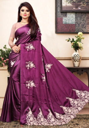 Embroidered Satin Saree in Purple