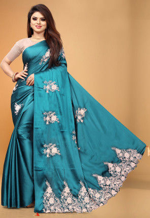 Embroidered Satin Saree in Teal Blue