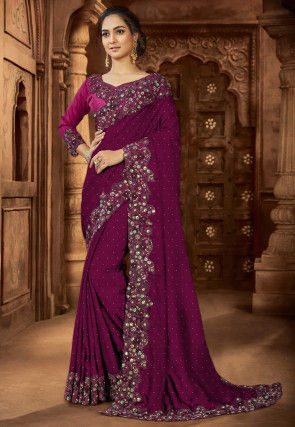 Embroidered Satin Saree in Violet