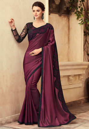 Embroidered Satin Saree in Wine