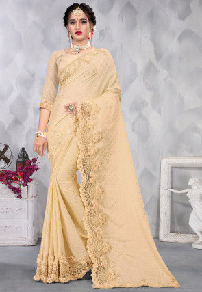 Embroidered Satin Scalloped Saree in Beige