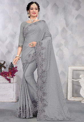 Embroidered Satin Scalloped Saree in Grey