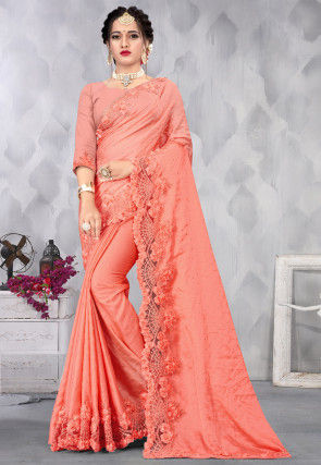 Embroidered Satin Scalloped Saree in Orange