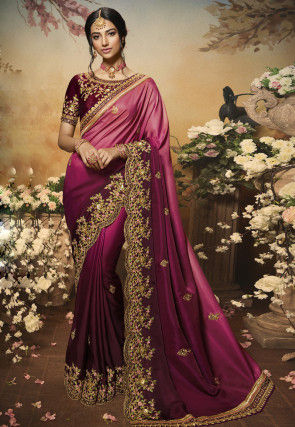 Embroidered Satin Scalloped Saree in Pink and Wine Ombre