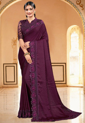 Embroidered Satin Scalloped Saree in Wine