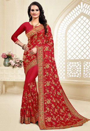 Embroidered Satin Saree in Red