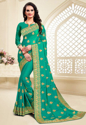 Embroidered Satin Saree in Teal Green