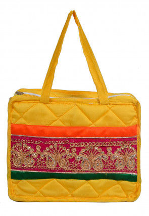 Embroidered Satin Utility Pouch in Yellow