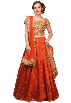 Embroidered Scalloped Crepe Lehenga in Rust