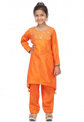 Embroidered Shantoon Asymmetric Punjabi Suit in Orange
