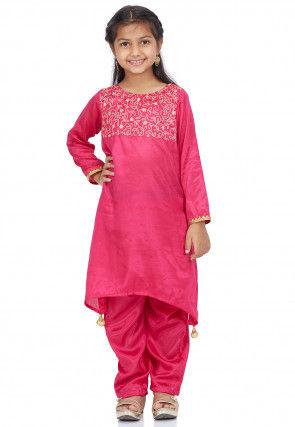 Embroidered Shantoon Asymmetric Punjabi Suit in Pink