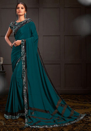 Embroidered Silk Georgette Saree in Teal Blue