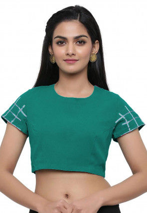 Embroidered Sleeve Georgette Blouse in Teal Green