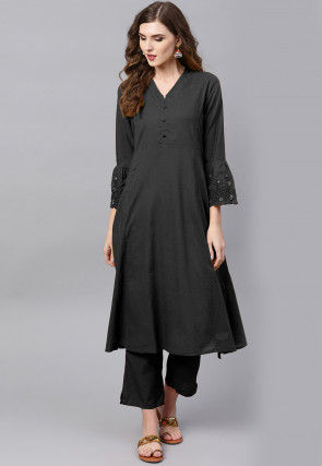 Embroidered Sleeve Rayon A Line Kurta in Black