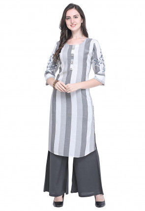 Embroidered Sleeve Rayon Straight Kurta in Grey and Off White