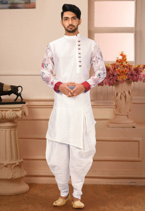 Embroidered Sleeves Art Silk Dhoti Kurta in White