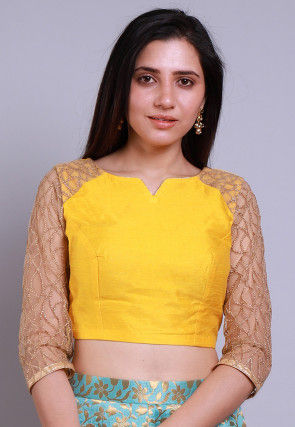 Embroidered Sleeves Dupion Silk Blouse in Yellow and Beige