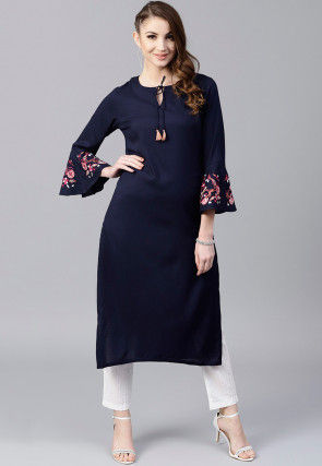 Embroidered Sleeves Rayon Straight Kurta in Navy Blue