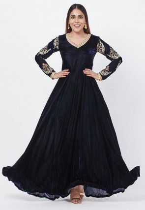 Embroidered Sleeves Velvet Gown in Navy Blue