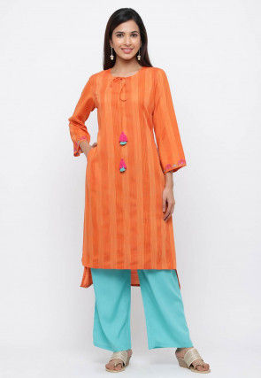 Embroidered Sleeves Viscose Rayon Kurta with Pant in Orange