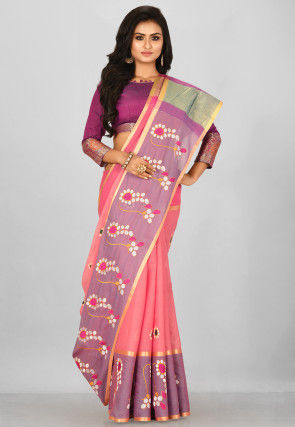Embroidered South Cotton Silk Saree in Pink